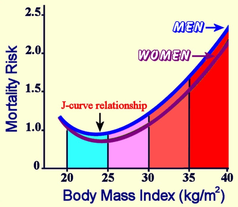 A bar graph depicts a J-shaped curve representing higher risk of mortality when BMI is in the underweight range or in the overweight or obese ranges.