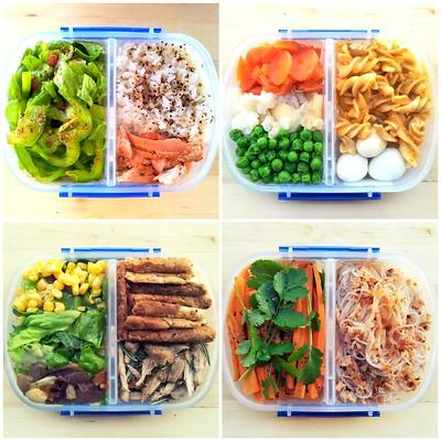4 bento boxes are shown that each have a balanced meal including vegetables, grains, and meat.