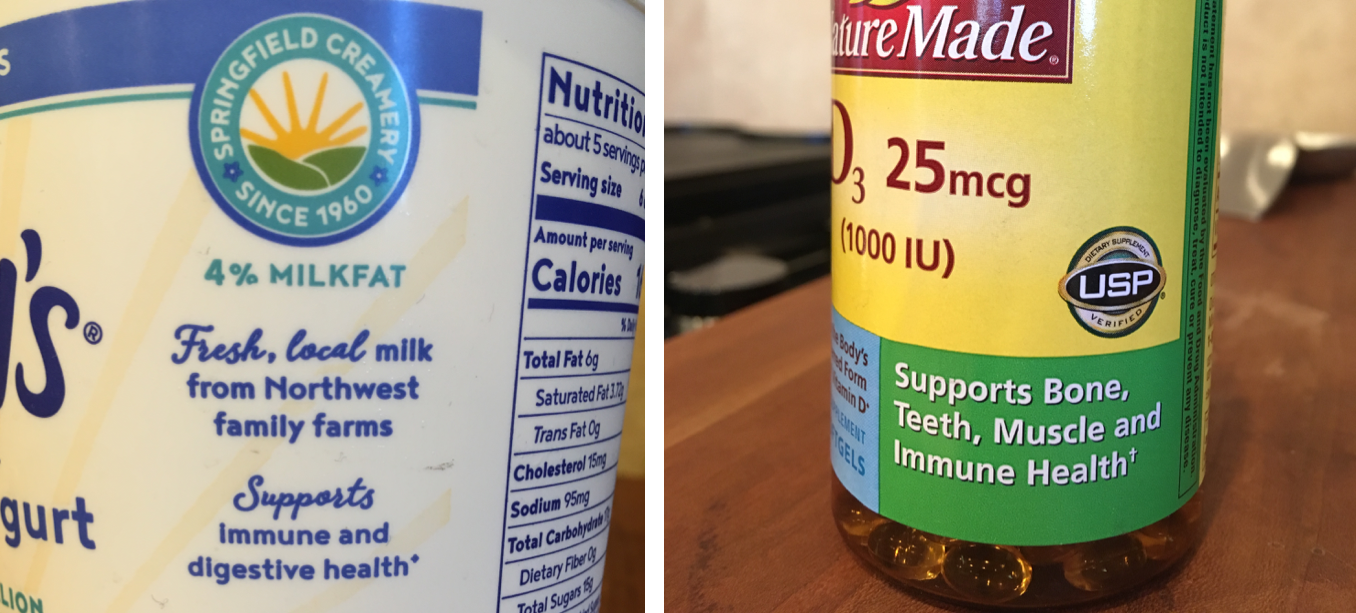 "The left-hand photo shows a close-up of a yogurt container. It reads ""Supports immune and digestive health."" The right-hand photo shows a label on a vitamin D supplement bottle, with the claim, ""Supports bone, teeth, muscle, and immune health."""