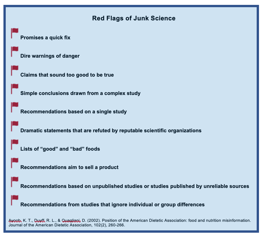 "There are 10 red flags, and each flag has a statement to help identify junk science. The flags read as follow: Promises a quick fix, dire warnings of danger, claims that sound too good to be true, simple conclusions drawn from a complex study, dramatic statements that are refuted by a reputable scientific organization, lists of ""good and ""bad"" foods, recommendations aim to sell a product, recommendations based on unpublished studies or studies published by unreliable sources, and recommendations from studies ignore individual or group differences."