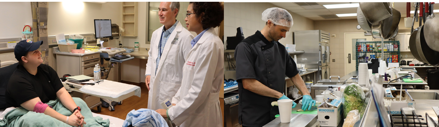 Two photos show scenes from processed foods trial at the NIH Clinical Center. At left, two researchers in white lab coats talk with a study participant, who is sitting up on a hospital bed, wearing street clothes, smiling, with a bandage on her arm that makes it look like she recently had blood drawn. At right, a man chops vegetables in a large commercial-looking kitchen. He is wearing a hairnet and is dressed in dark professional chef clothing.