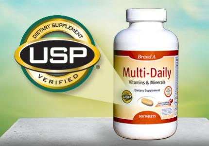 """A picture of a multi daily vitamin and mineral supplement that contains the USP mark. This mark is then magnified so it can be viewed in more detail. The seal states, """"Dietary Supplement USP Verified."""""""