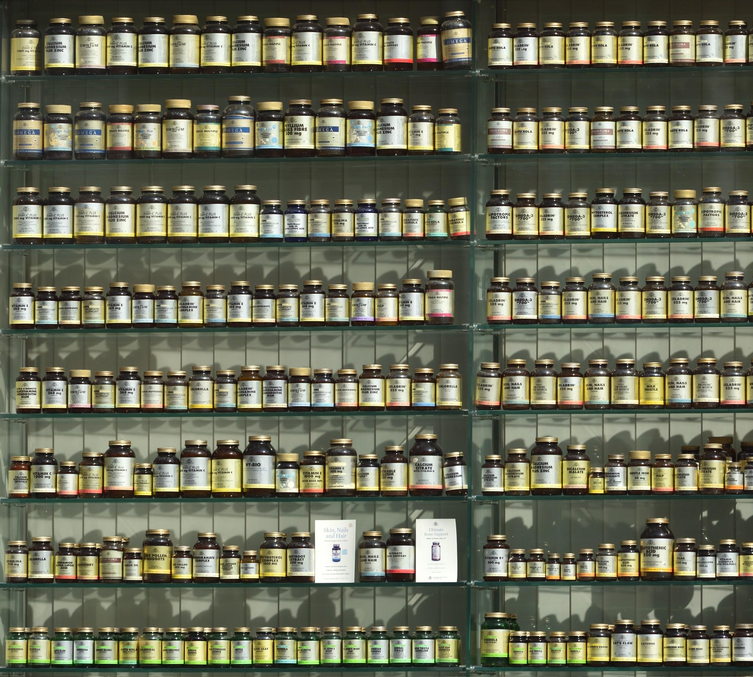 Rows and rows of different supplements.
