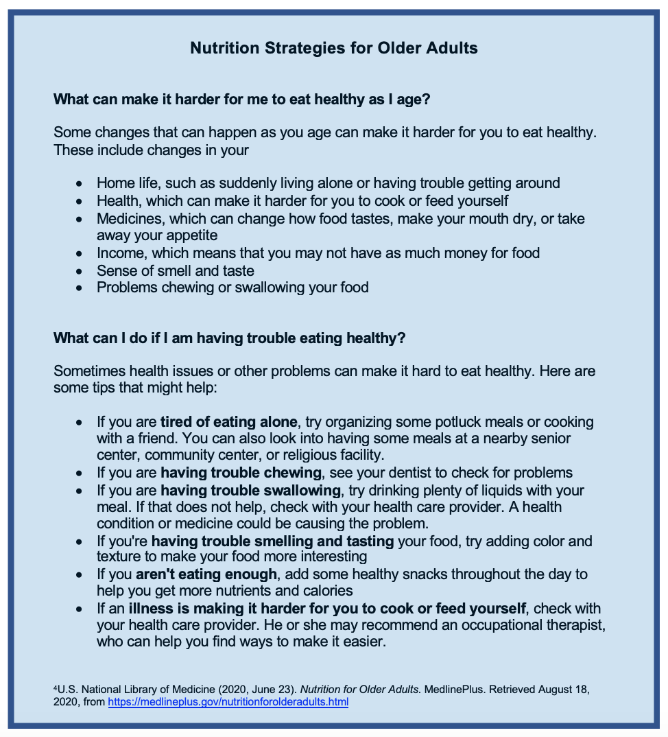 A bullet list of issues that can make it harder for older adults to eat healthy as they age, followed by suggestions for what to do if older adults are having trouble eating.